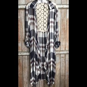 Long Flannel Cardigan with Lace